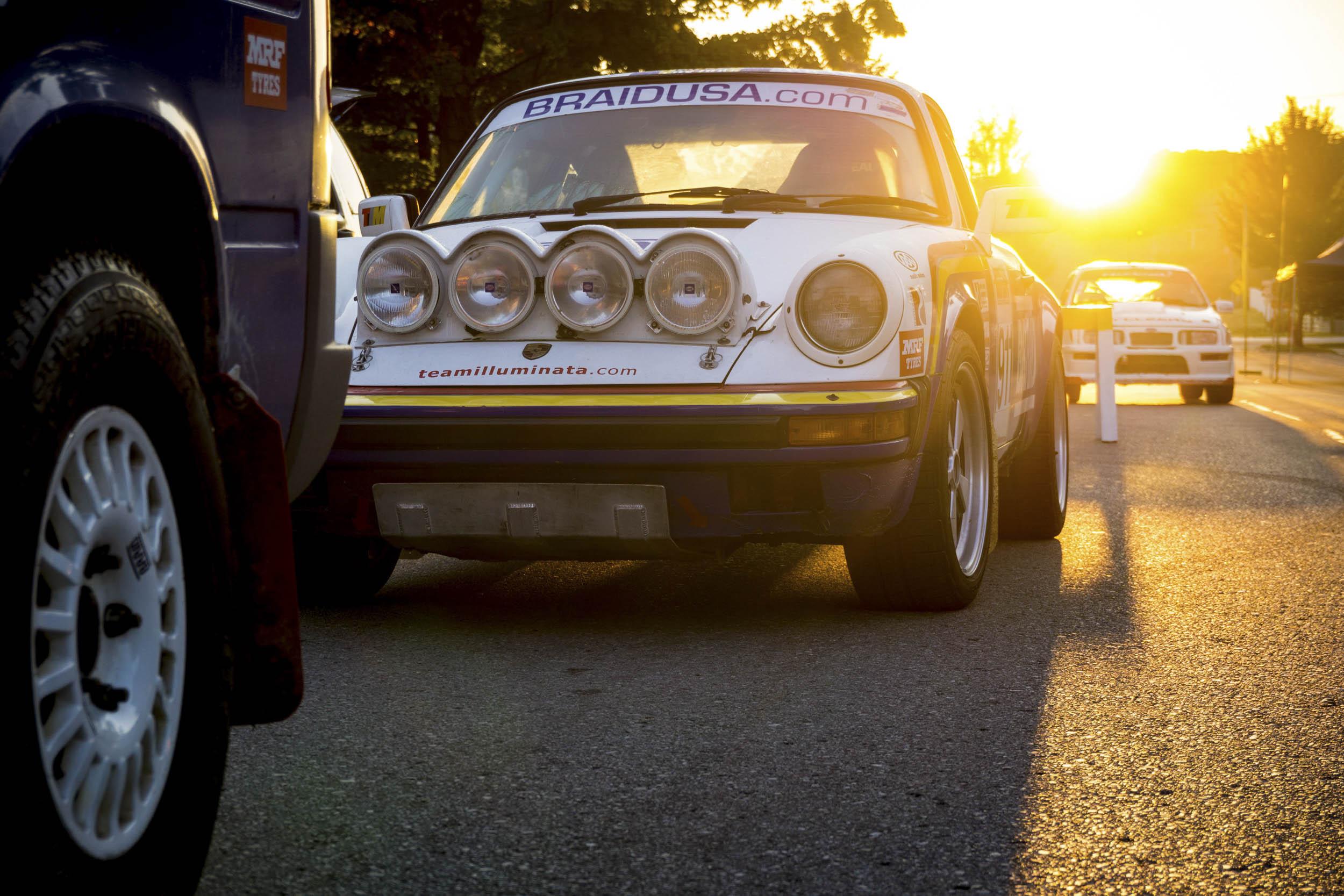 Porsche 911 rally sunset