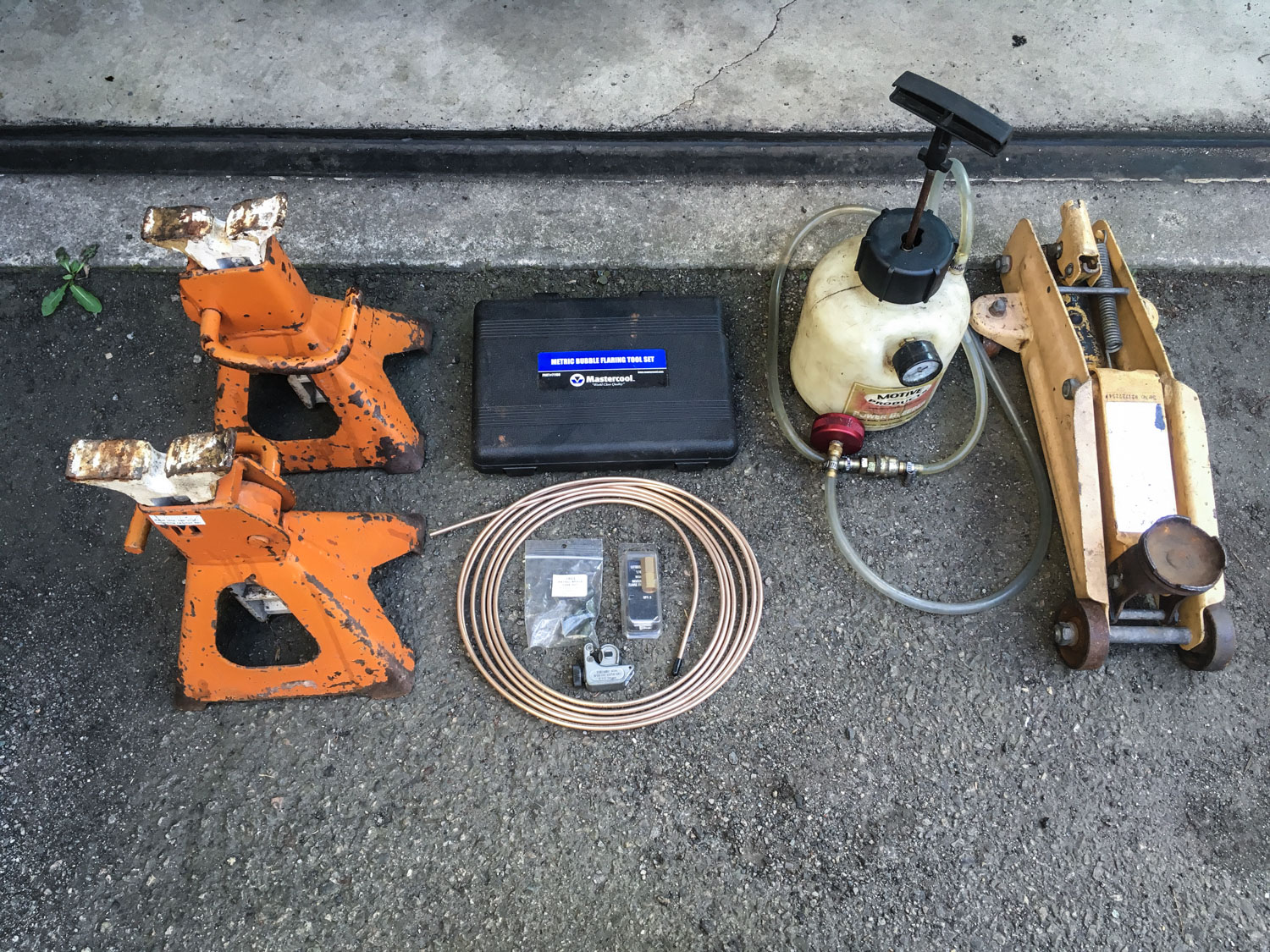 I don't routinely travel with all this. But I have. brake failure safety kit