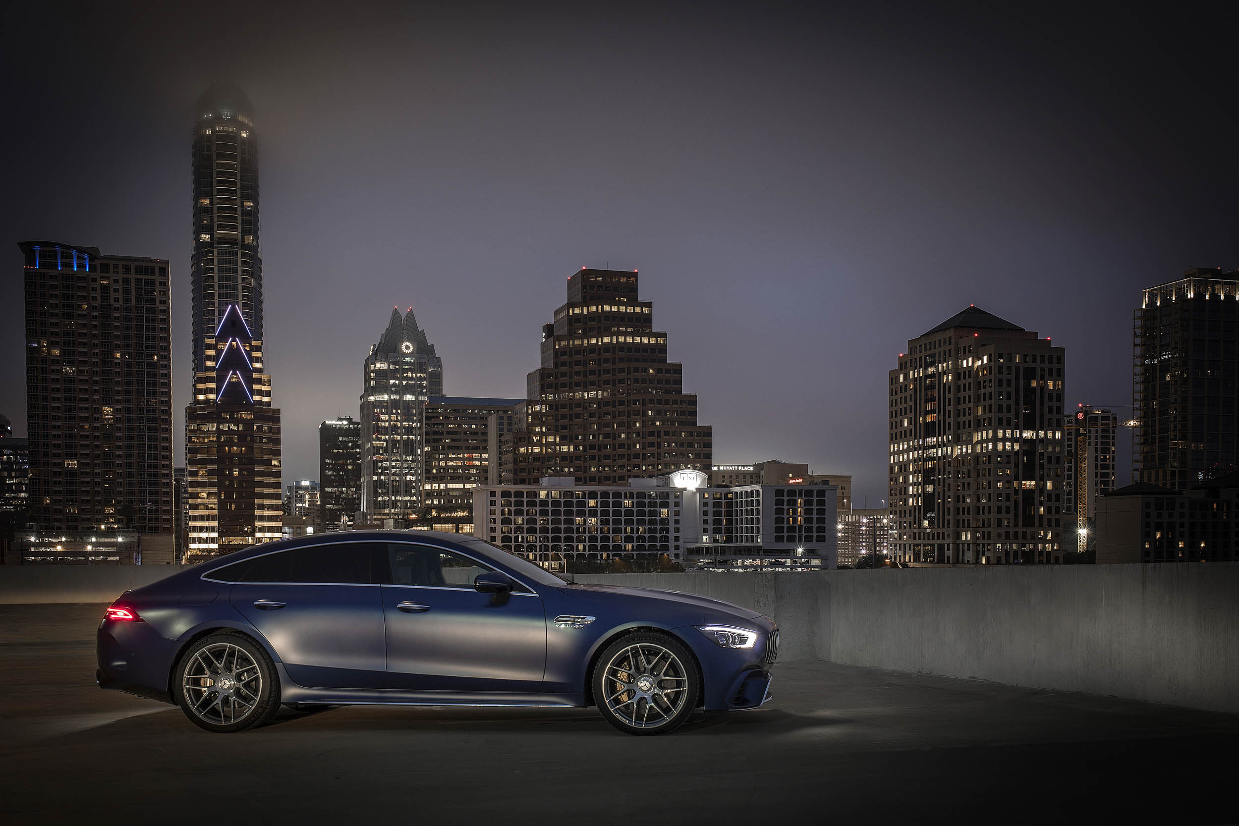 Blue Mercedes-AMG GT 63 S profile with a skyline