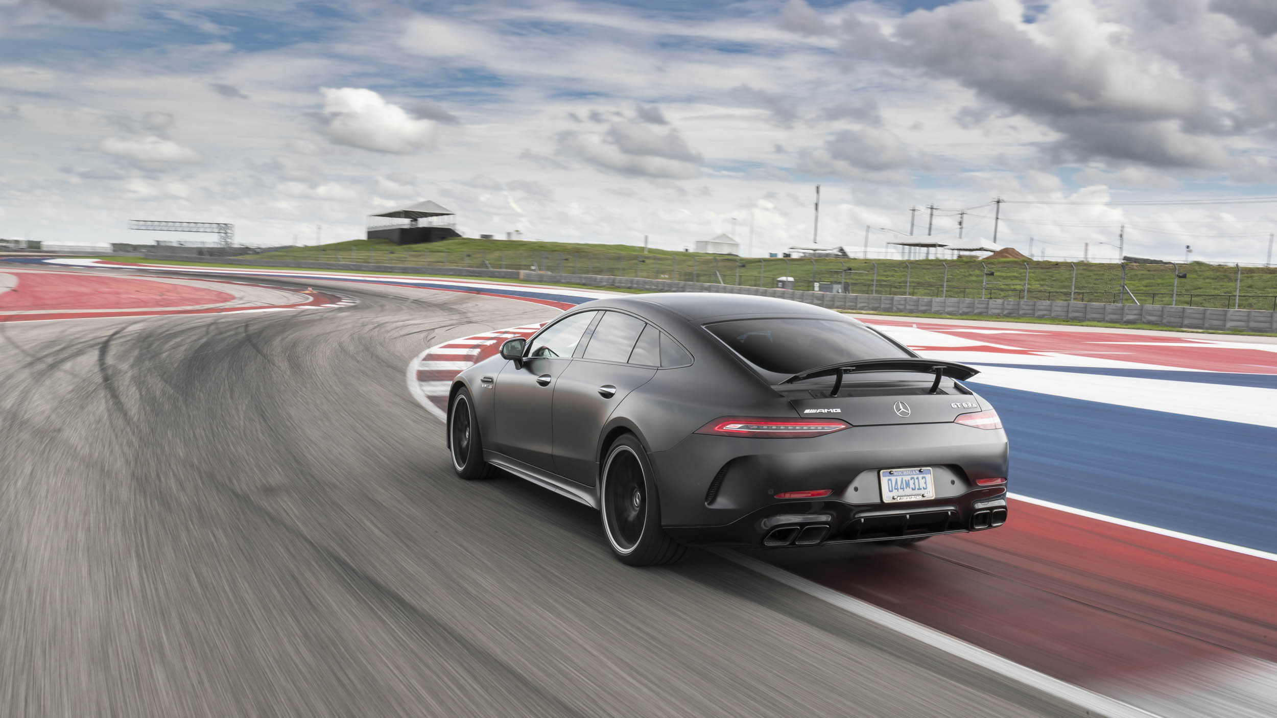 Mercedes-AMG GT 63 S rear 3/4 on the track