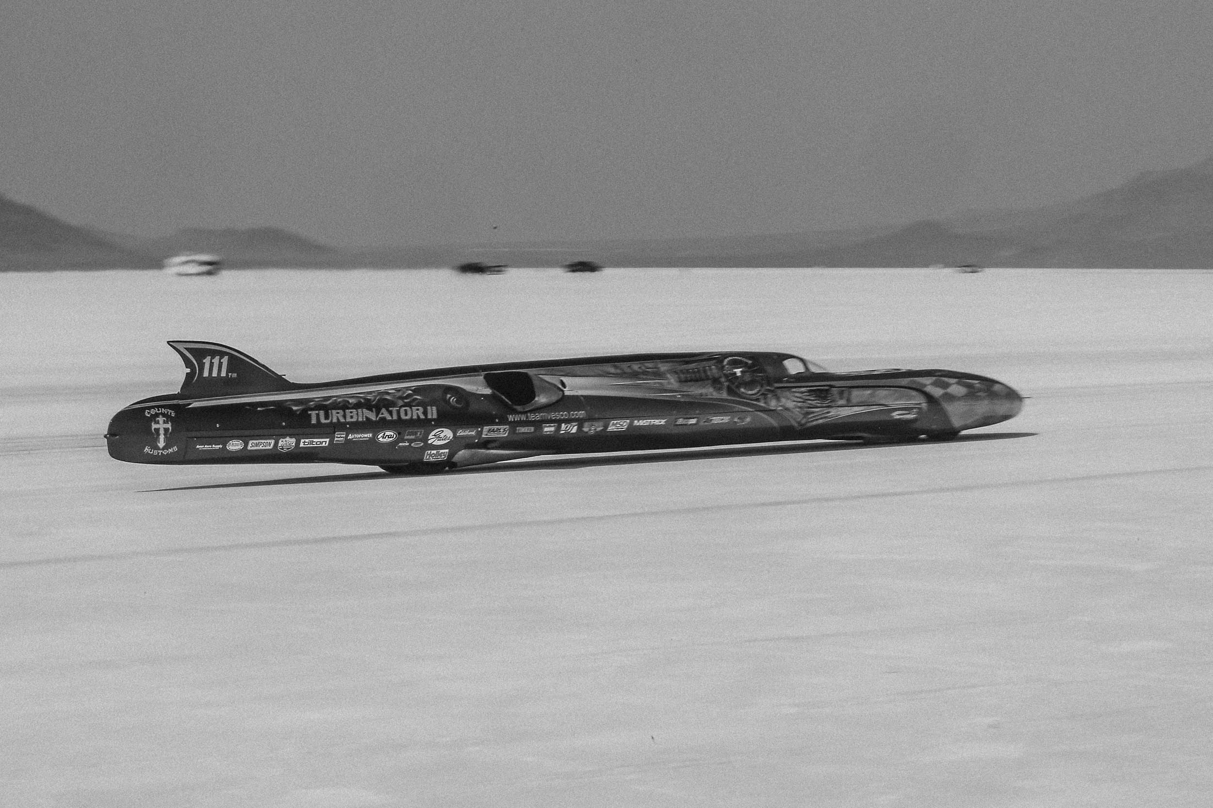 Team Vesco's Turbinator II streamliner recorded the fastest flying mile of Speed week with a 463mph pass