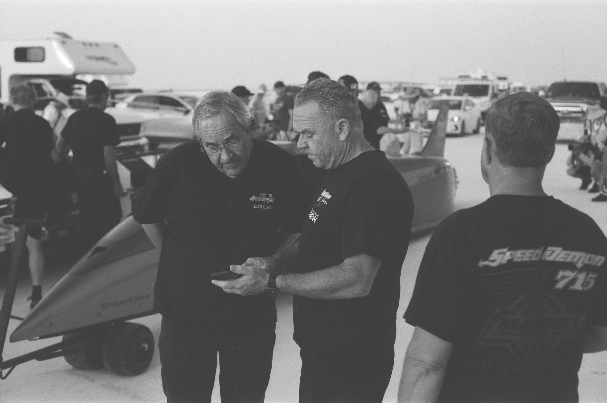 The two crew chiefs of the Speed Demon team streamliner, Kenny Duttweiler (left) and Steve Watt.