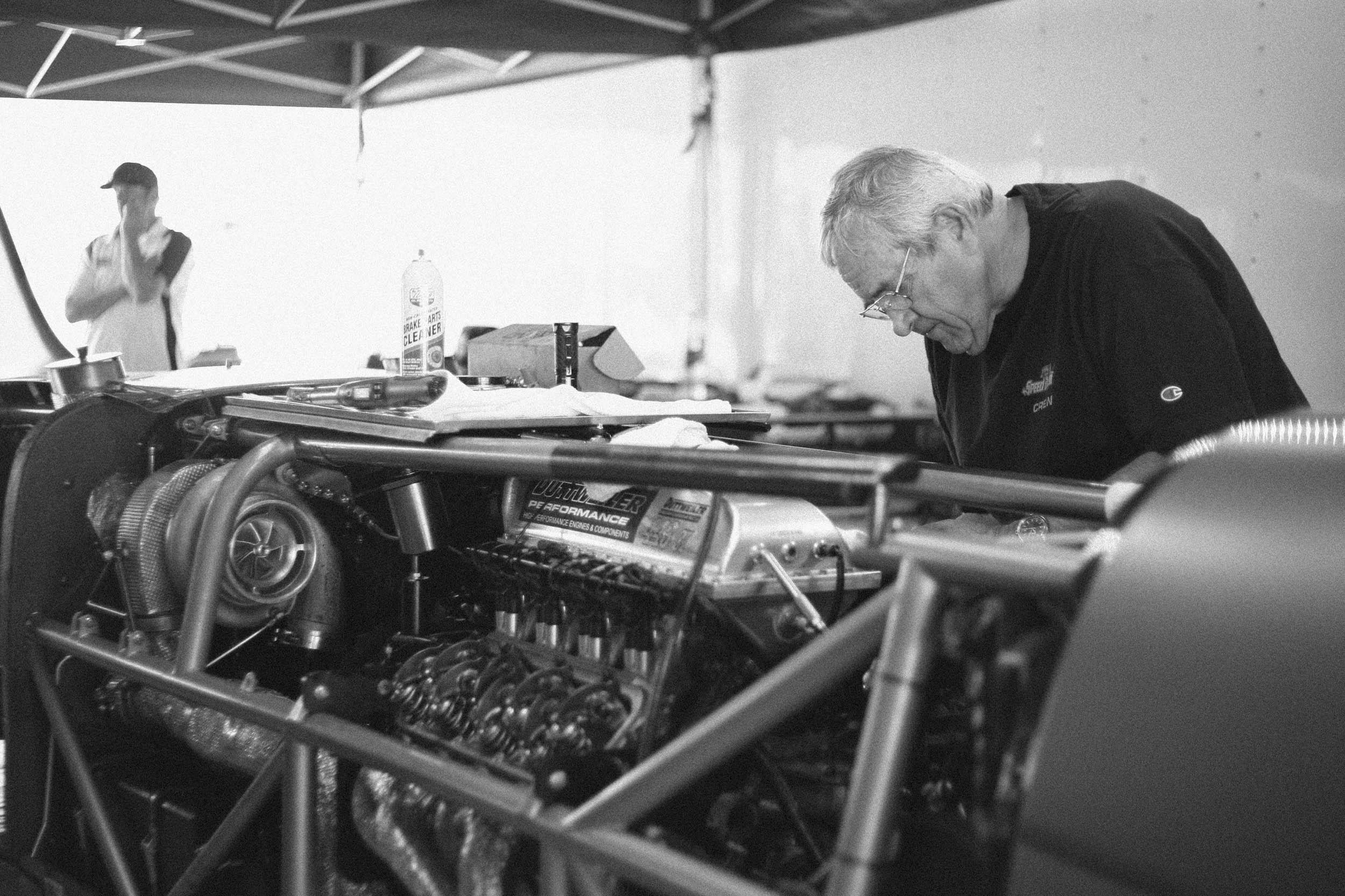 Kenny Duttweiler built the 443-cubic-inch Chevrolet LS V-8 that produces 2600 horsepower.