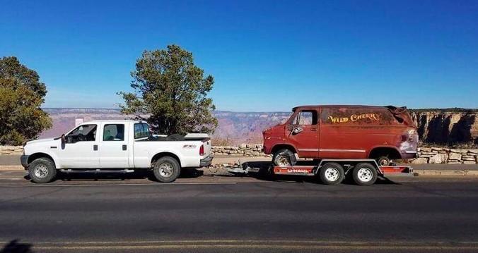Wild Cherry Van being towed away