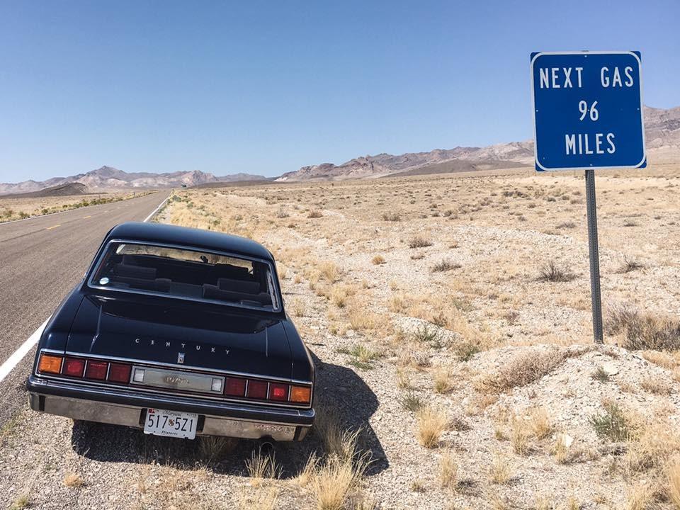 Toyota Century last gas stop in the desert