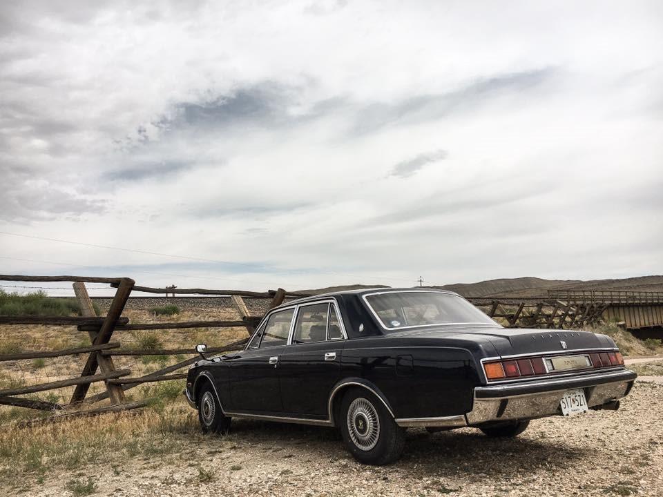 Toyota Century broken down on the side of the road