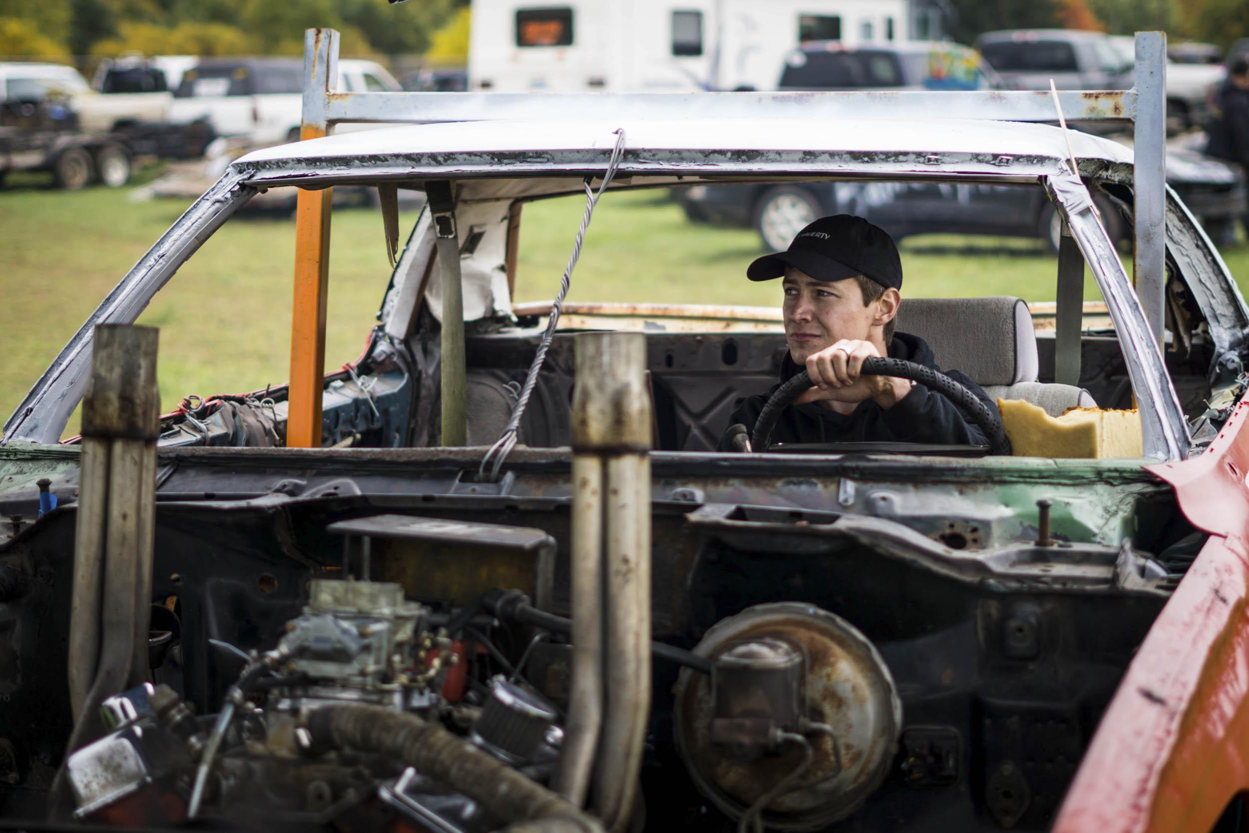 Tim Wahl in his demo derby car