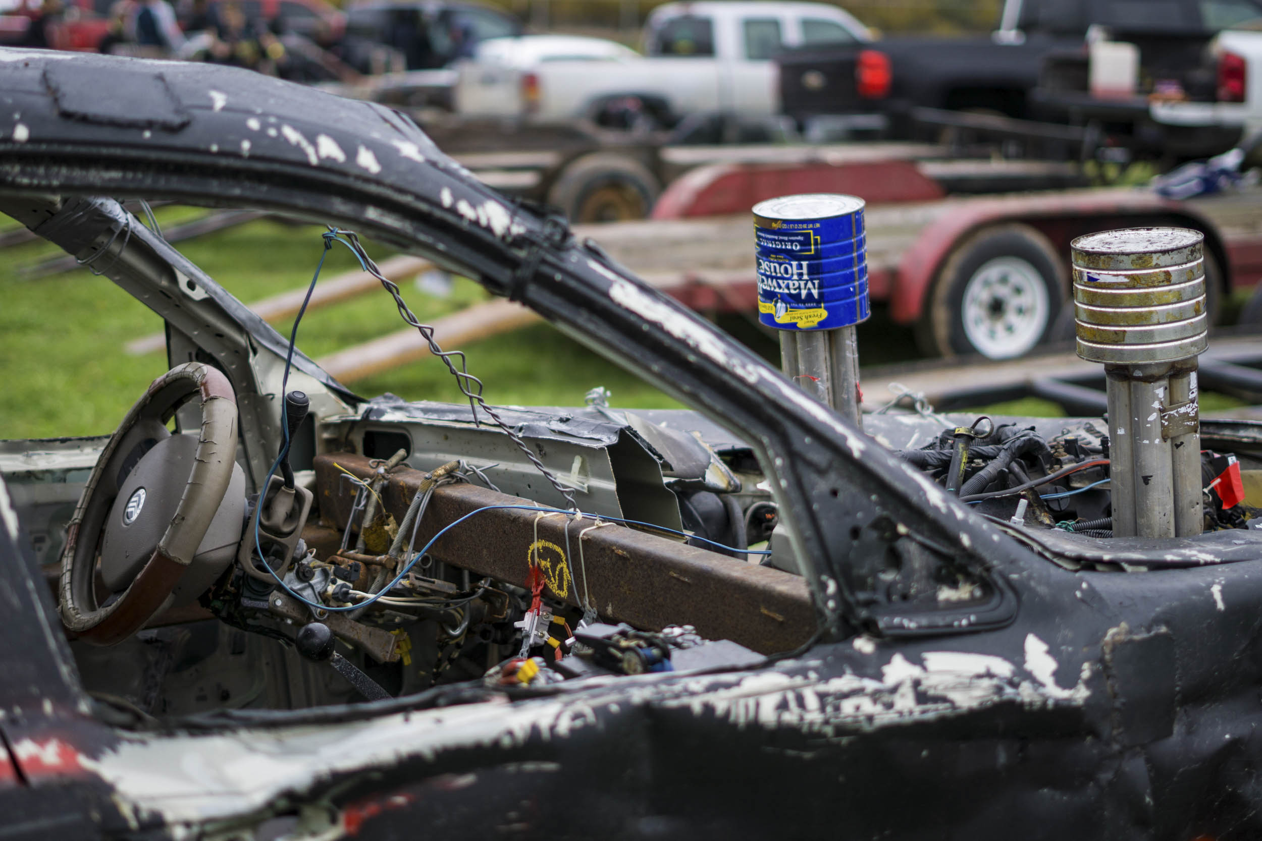 demolition derby car cockpit