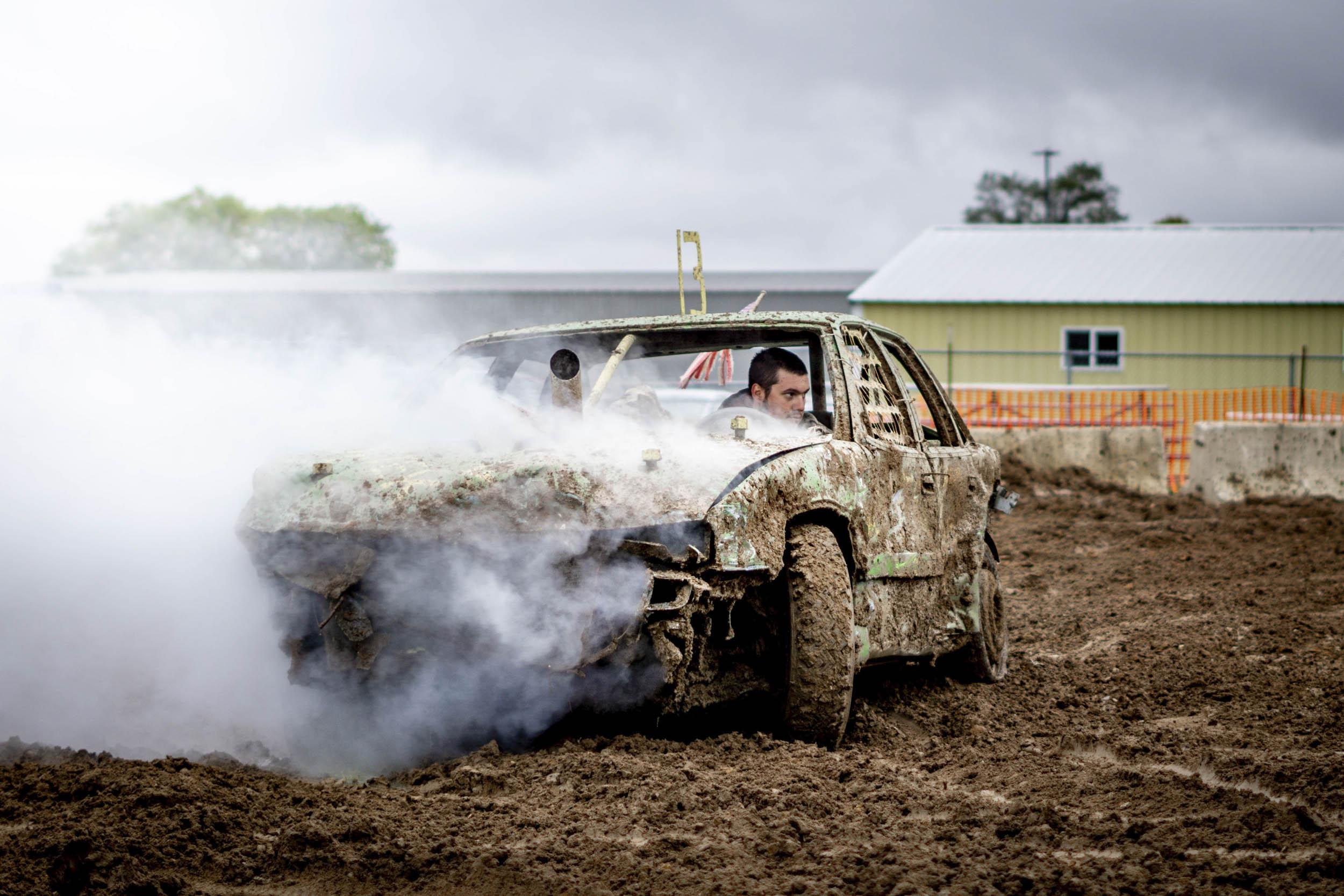 crashed demolition derby car smoking