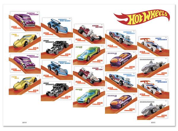 Hot Wheels stamp booklet