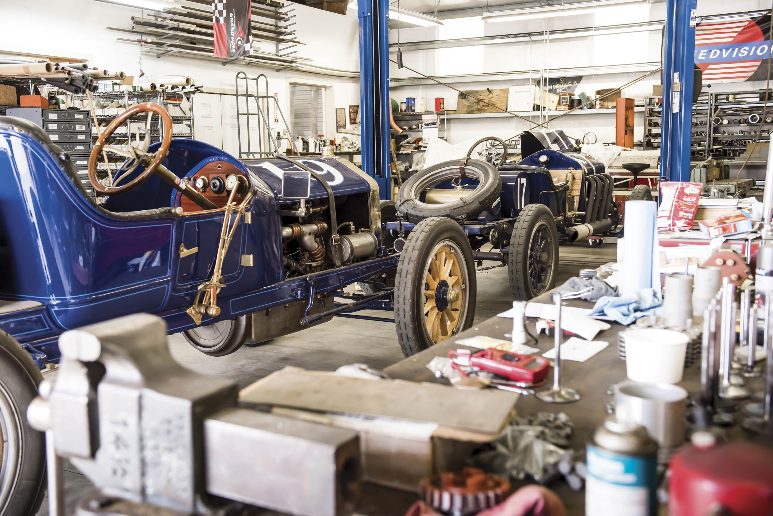 Blain makes a lot of his parts on-site, owing to the fact that NAPA doesn't carry much for cars that are more than 100 years old.