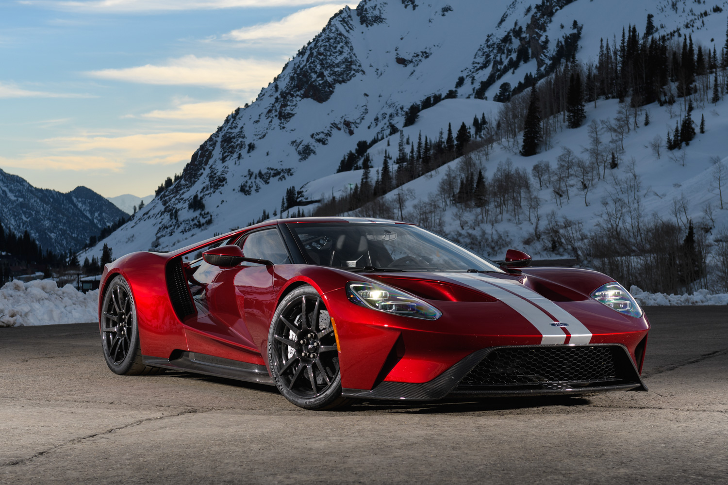 Ford GT snow mountains