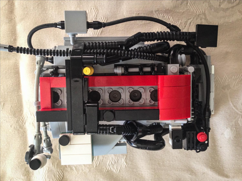 LEGO Ford Falcon Barra inline six overhead view
