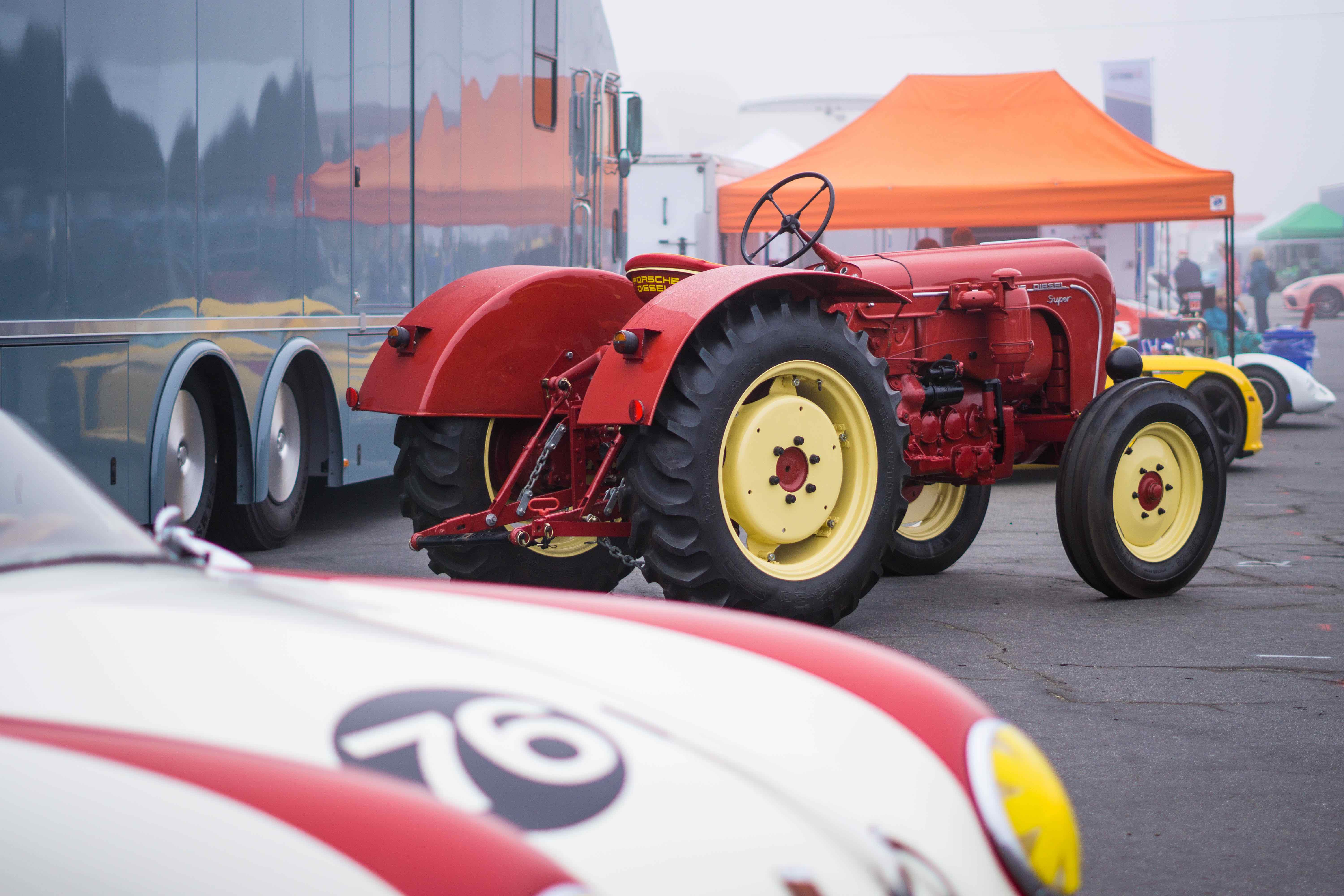 tractor and race car