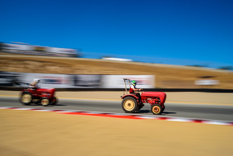 Porsche tractor race laguna seca high speed turn