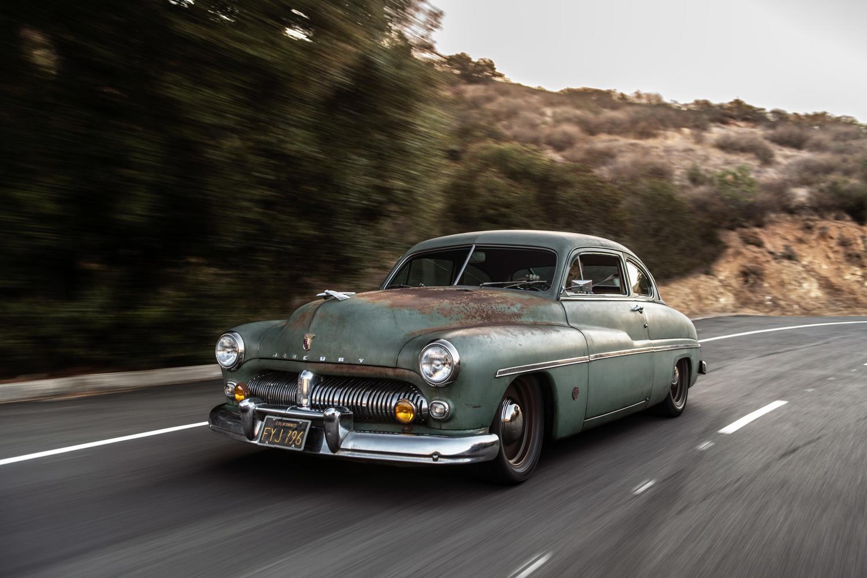 Icon Derelict 1949 Mercury Coupe driving 3/4