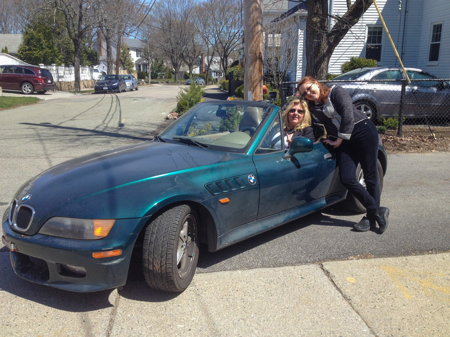 My wife, right, with Kim, the new and very happy owner of the Z3. bmw