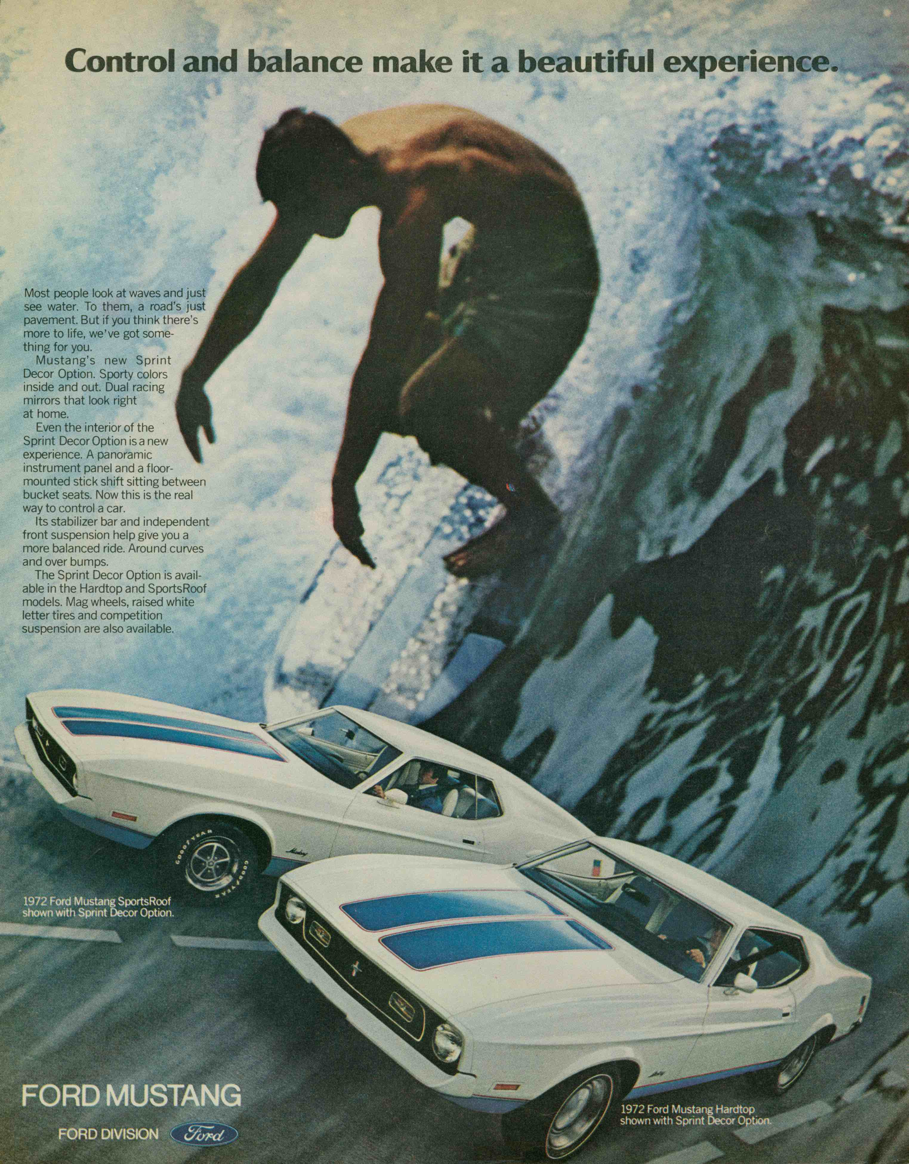 1972 Ford Mustang Sprint USA surf ad