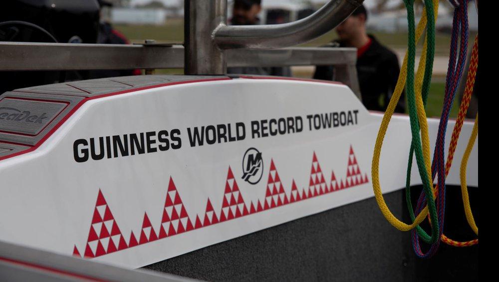 Guinness World Record waterski pyramid boat transom