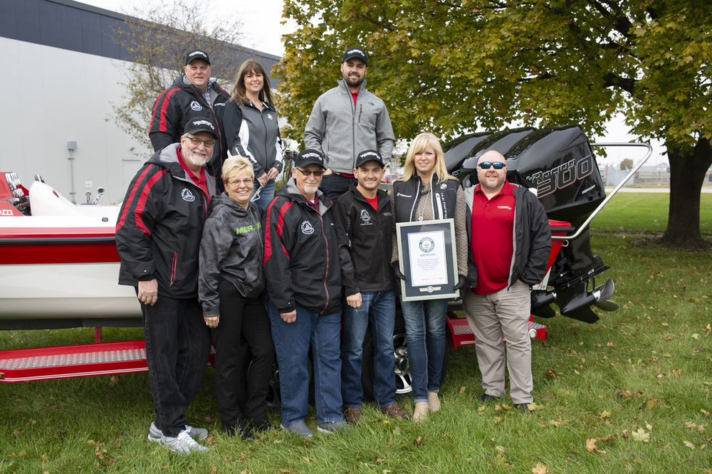 Guinness World Record waterski pyramid boat team