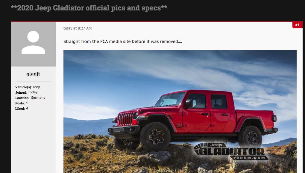 Jeep Gladiator Forum user gladjt