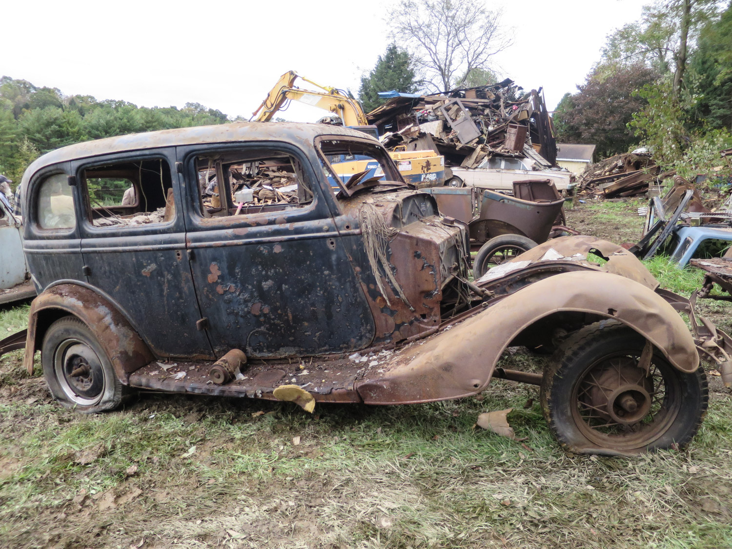 1934 Plymouth 4 door barn collapse
