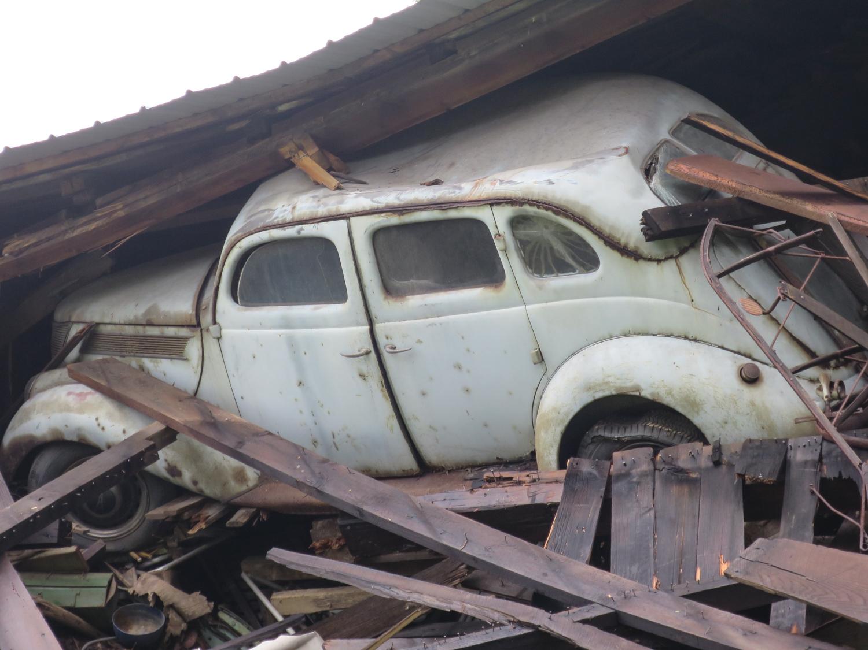 Barn Collapse car burried