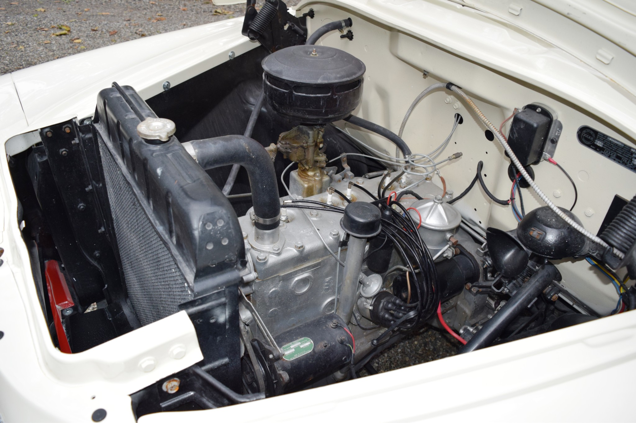1957 Dodge D100 Sweptside inline 6 flathead engine