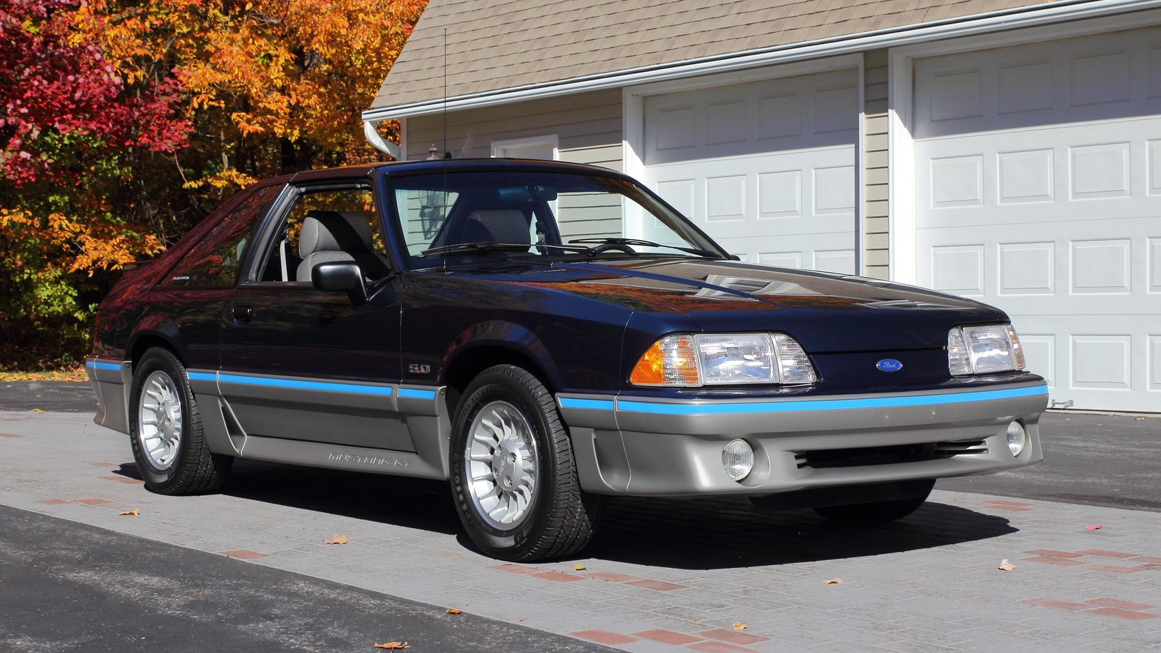 blue 1988 Ford Mustang GT