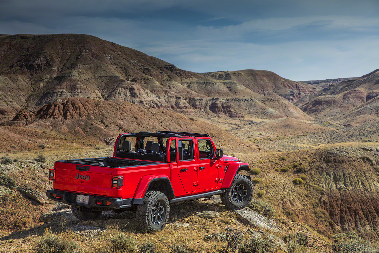 2020 Jeep Gladiator rear 3/4 mountains