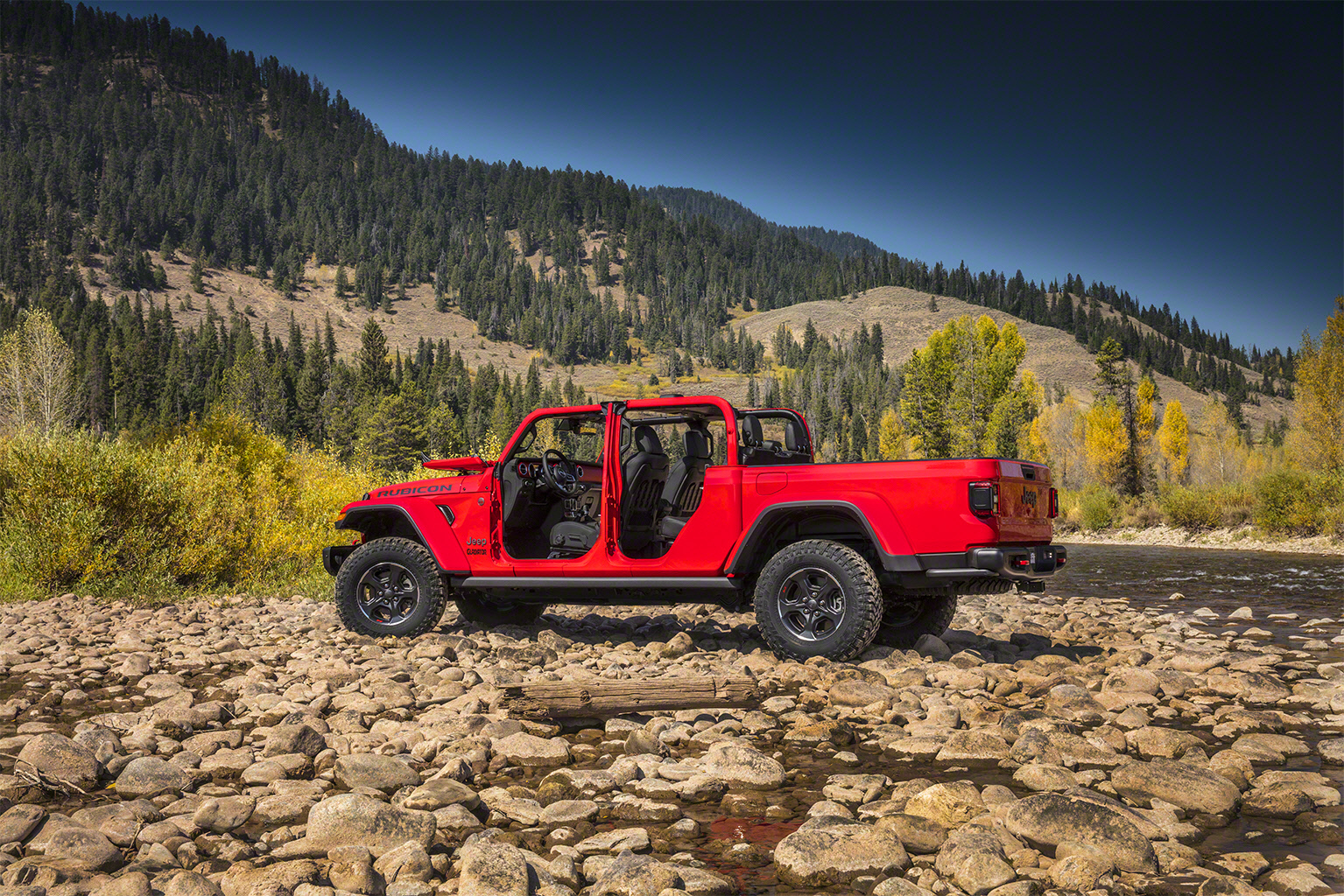 2020 Jeep Gladiator side doors off river bed
