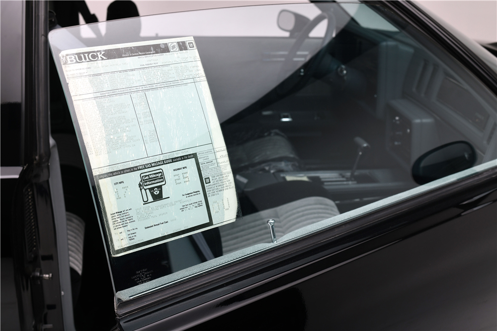 1987 Buick Grand National window sticker