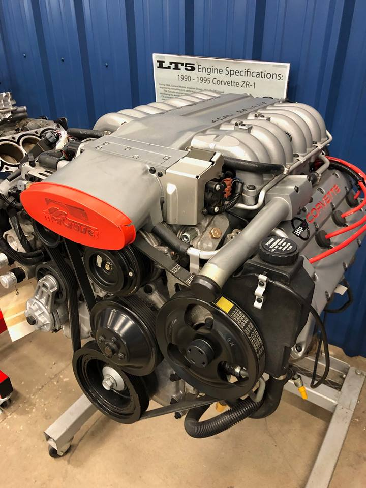 LT-5 engine on stand