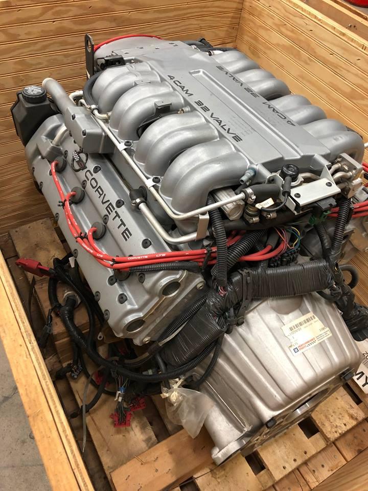 LT-5 engine inside crate