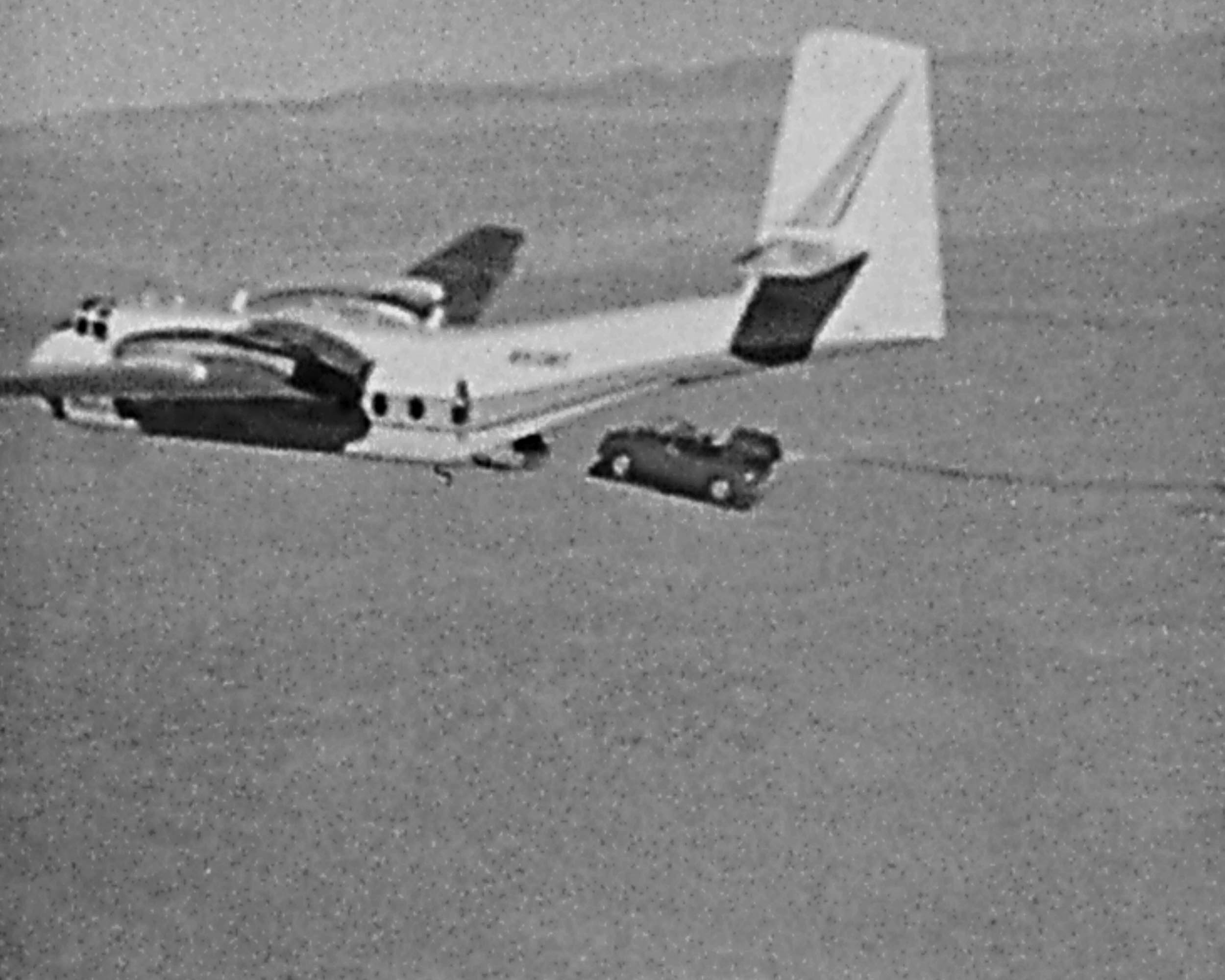 car falling out of a plane