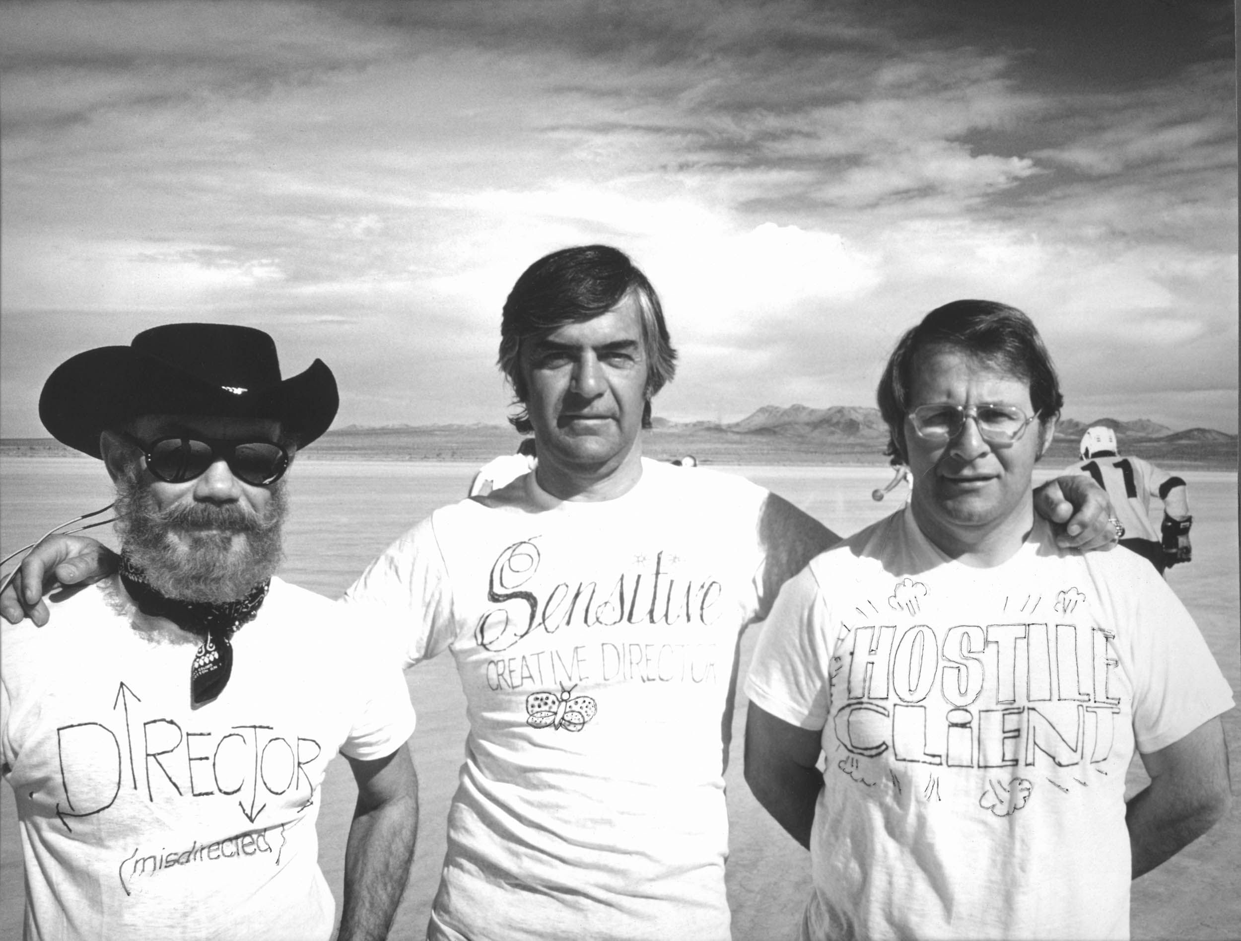 From left, project director Jim Jordan, Marce Mayhew from MG's ad agency, and British Leyland ad director Bob Burden are identified by their T-shirts.
