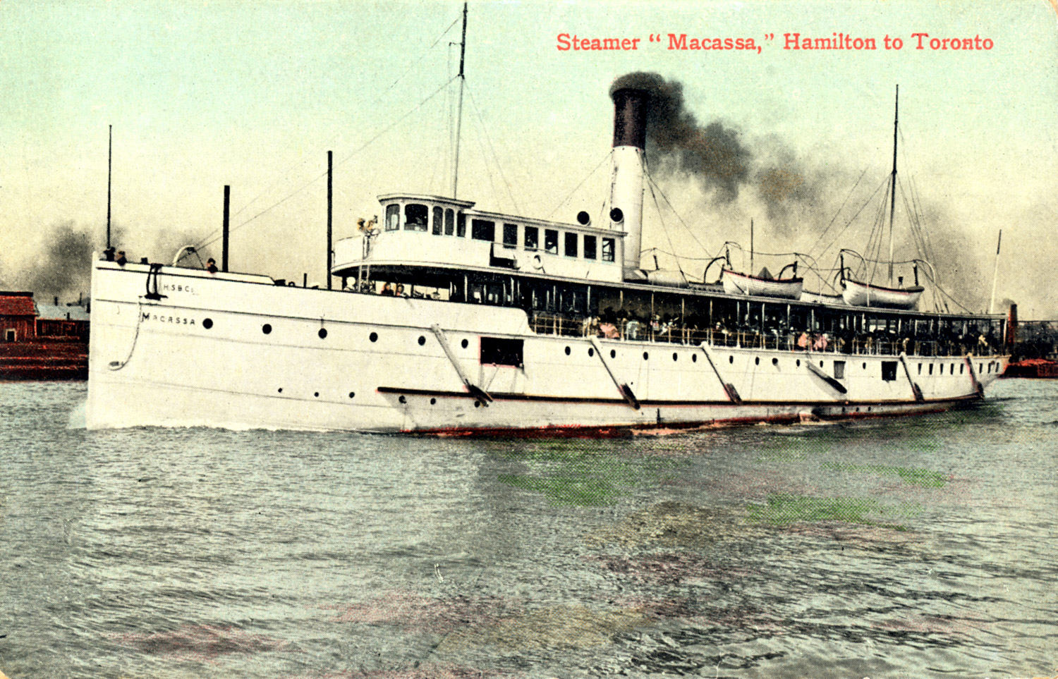 The steel-hulled MANASOO, when it was named the MACASSA for the first 39 years of its 40-year life, plied Lake Ontario waters carrying excursionists and cargoes between the cities of Toronto and Hamilton.