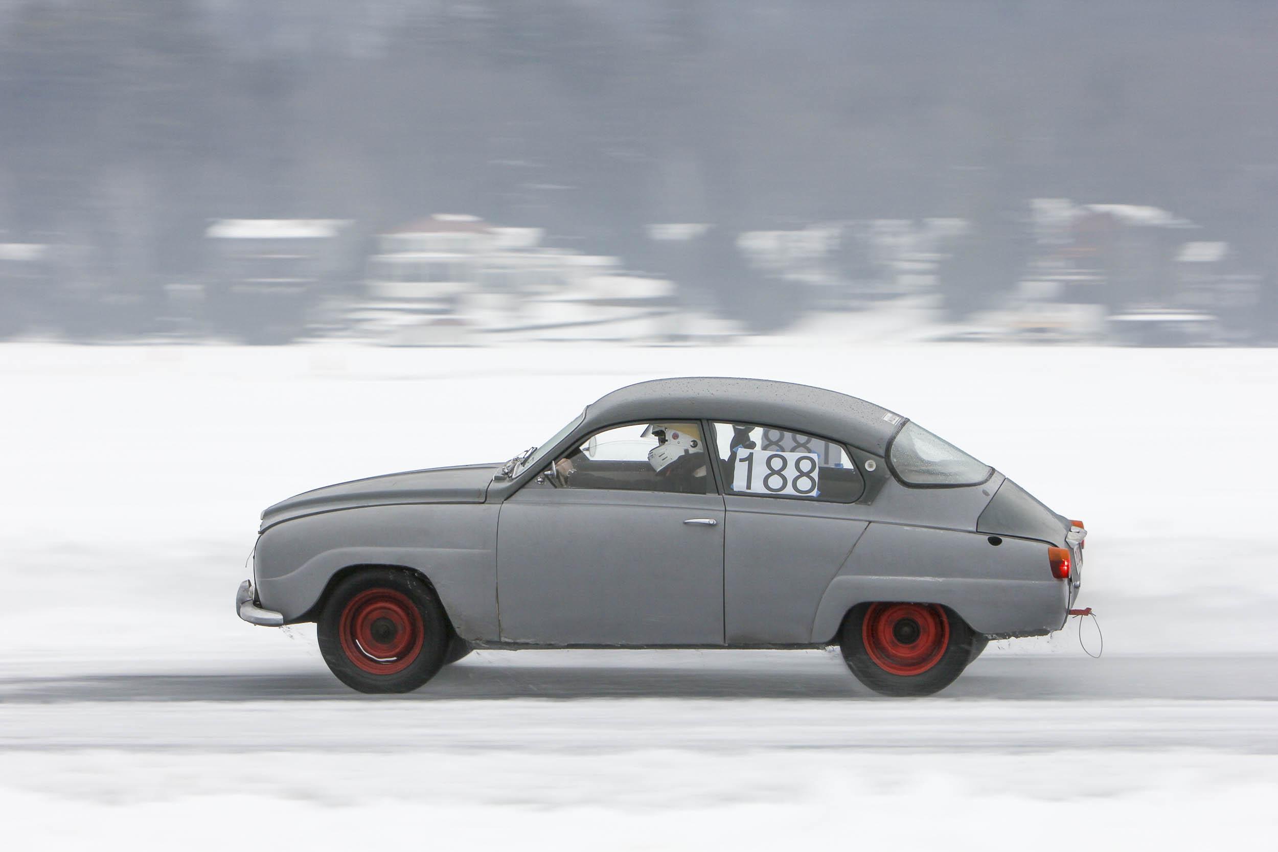 car speeding on ice
