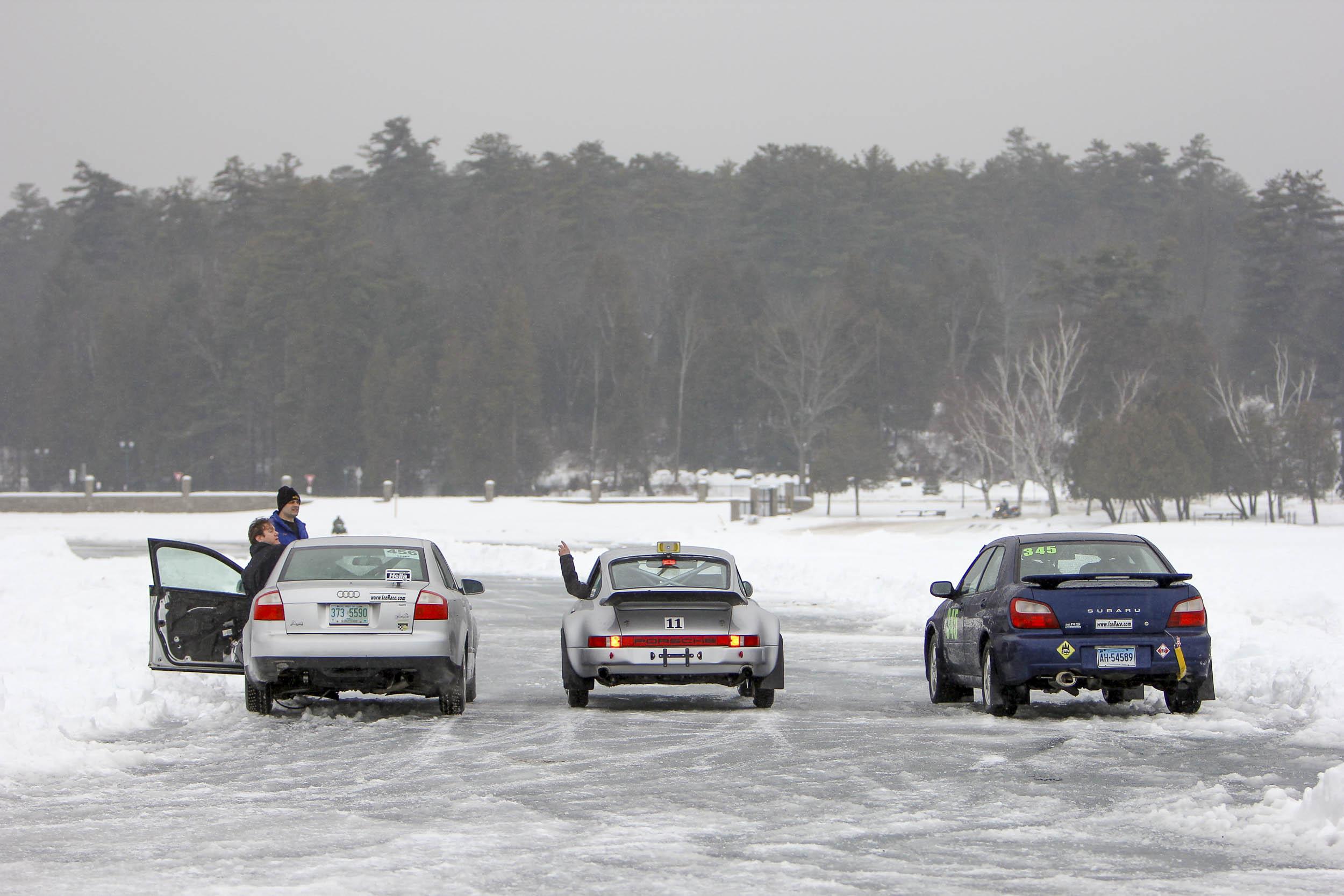Subaru, Audi and Porsche ice racers