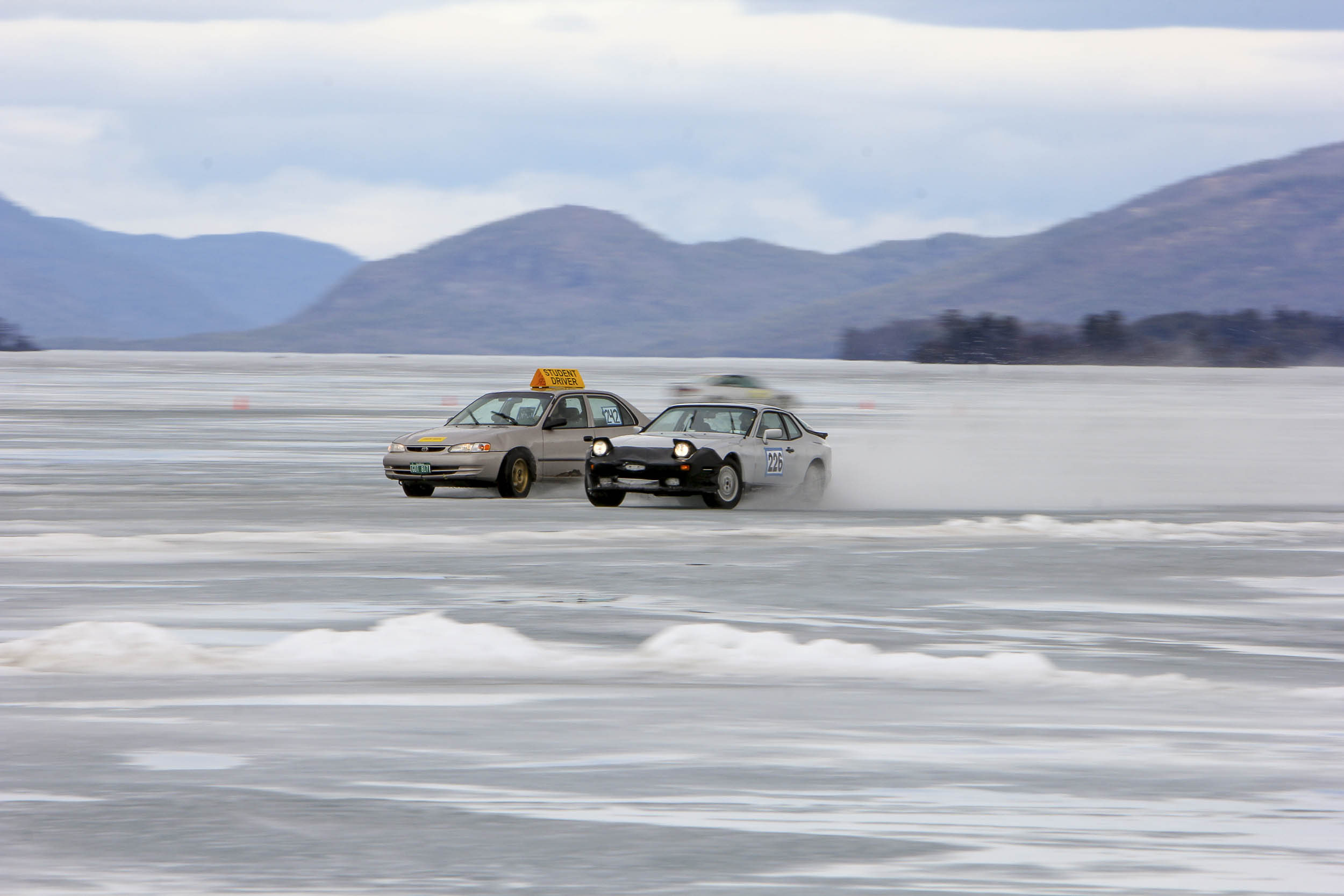 driving on a frozen lake