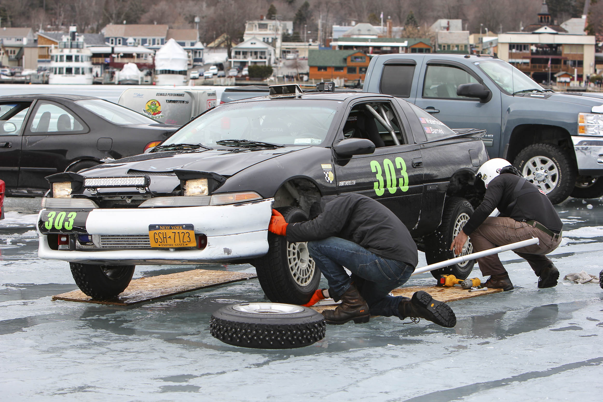changing to studded tires for ice racing
