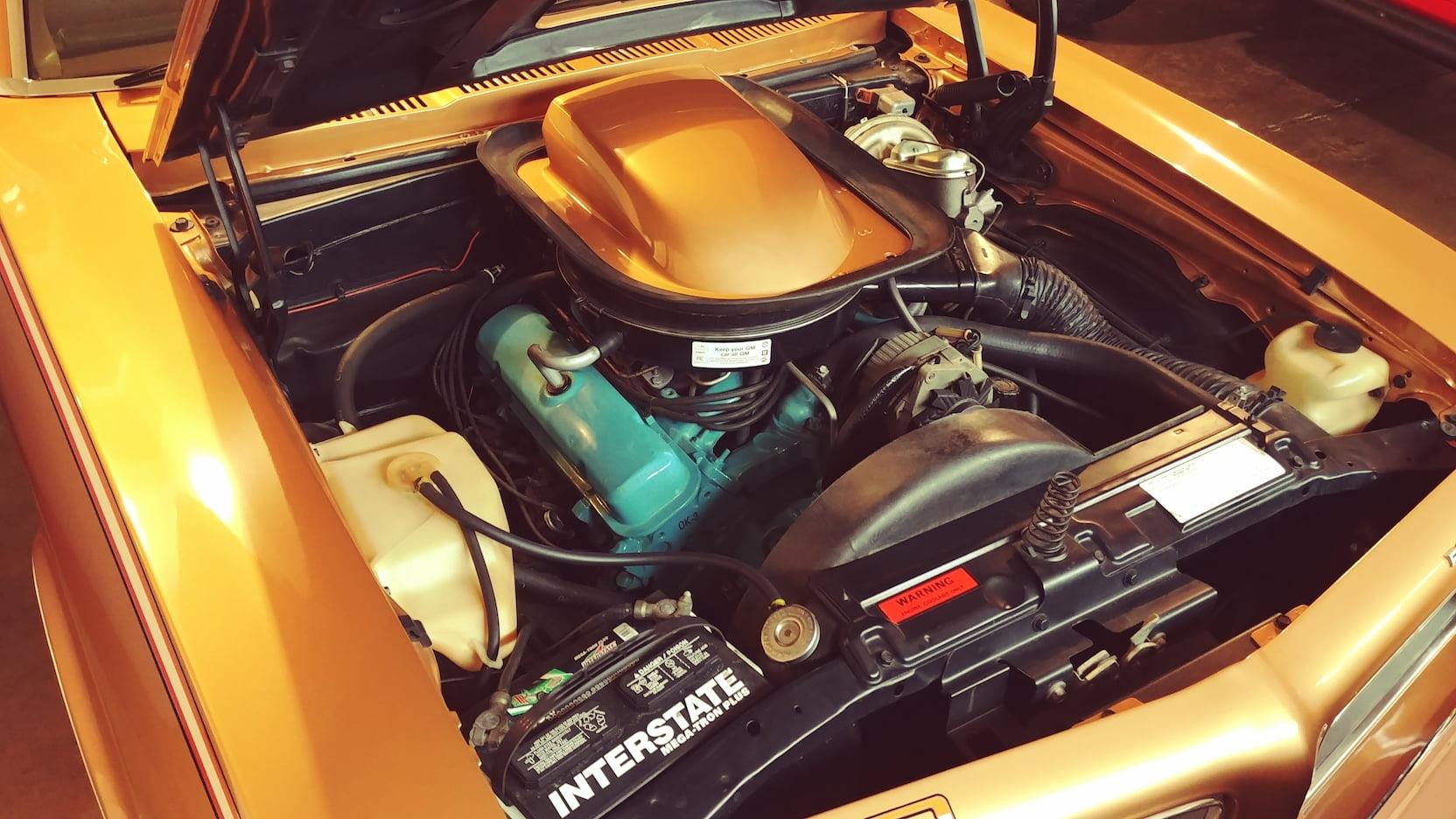 1974 Pontiac GTO shaker hood engine