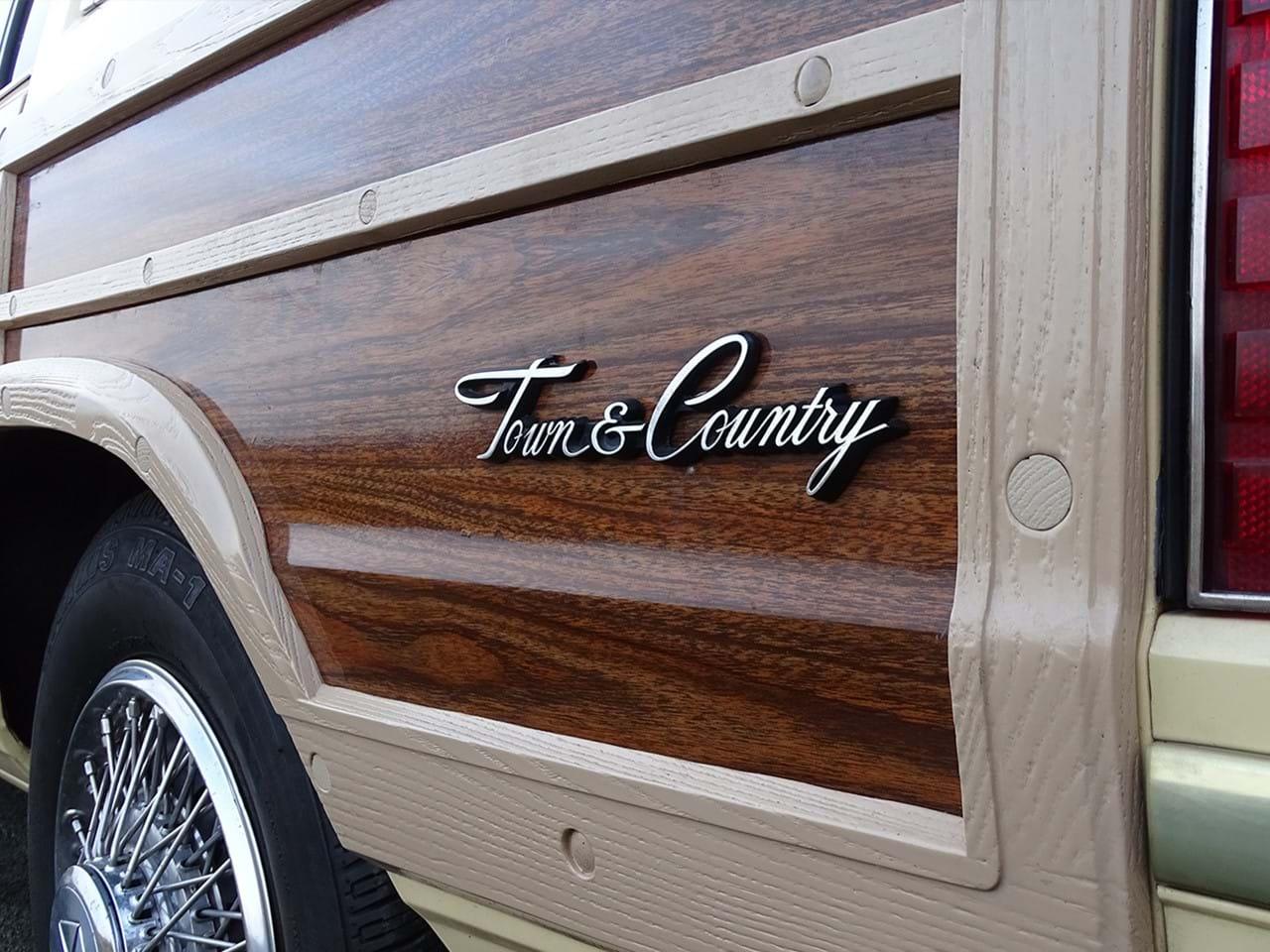 1985 Chrysler LeBaron Town and Country Wagon badge wood