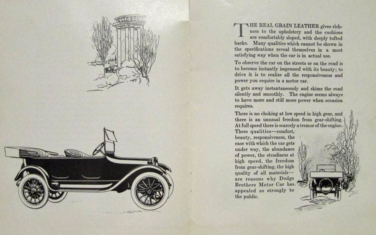The 1919 Dodge sales brochure, with information about the touring model.