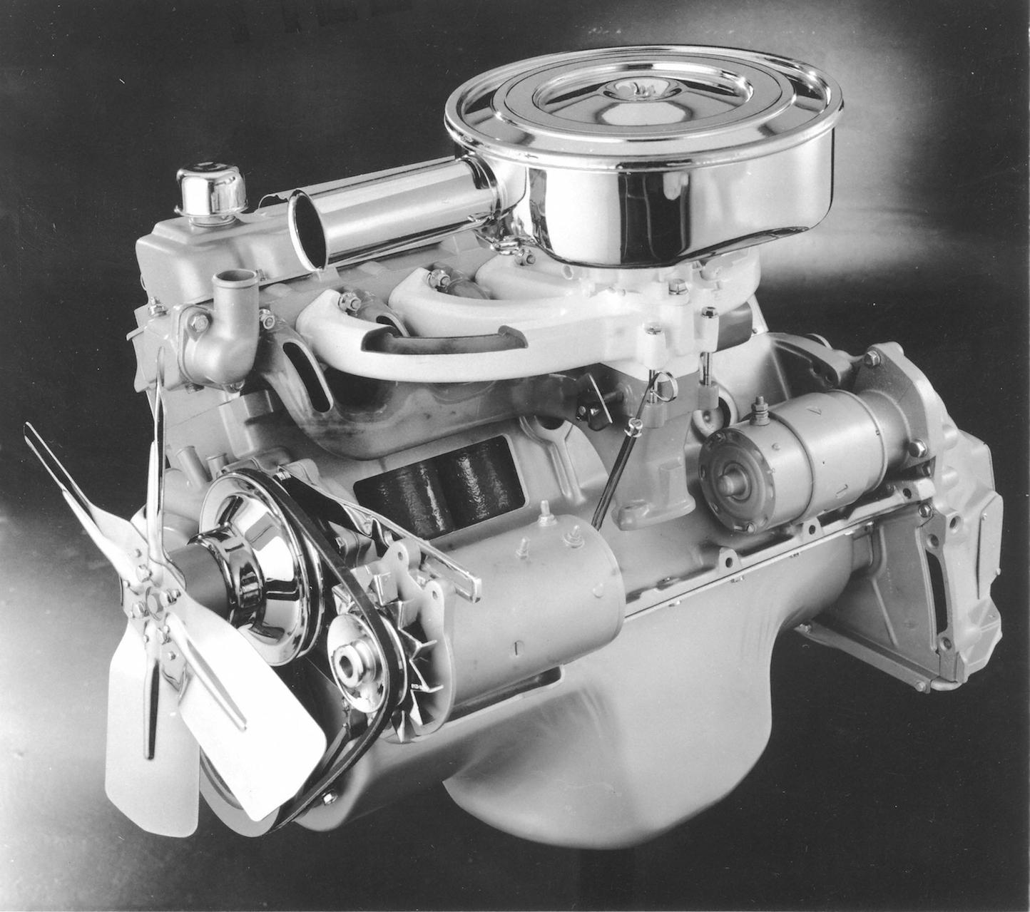 Slant-6 engine black and white