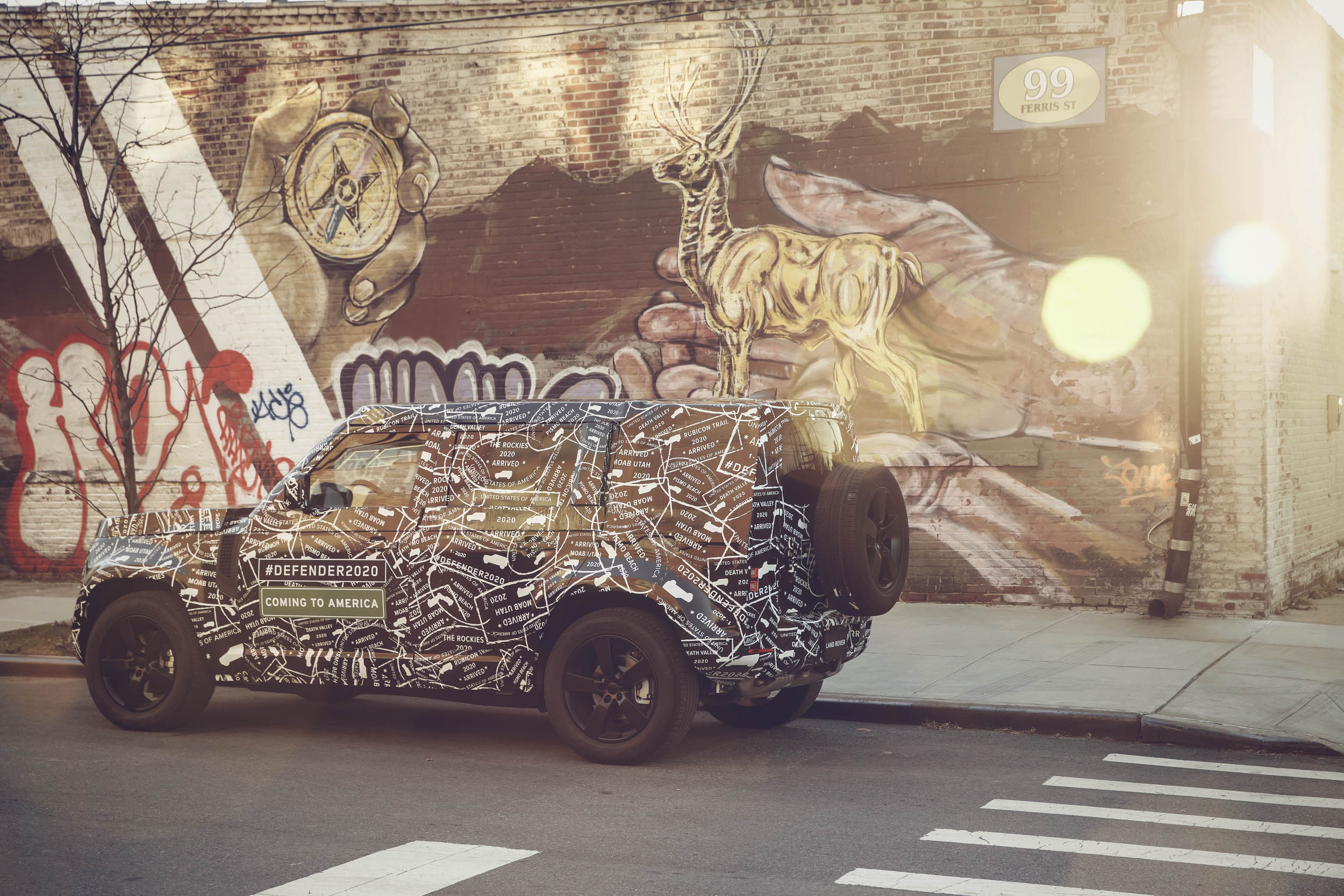 2020 Land Rover Defender in front of some NYC Graffiti