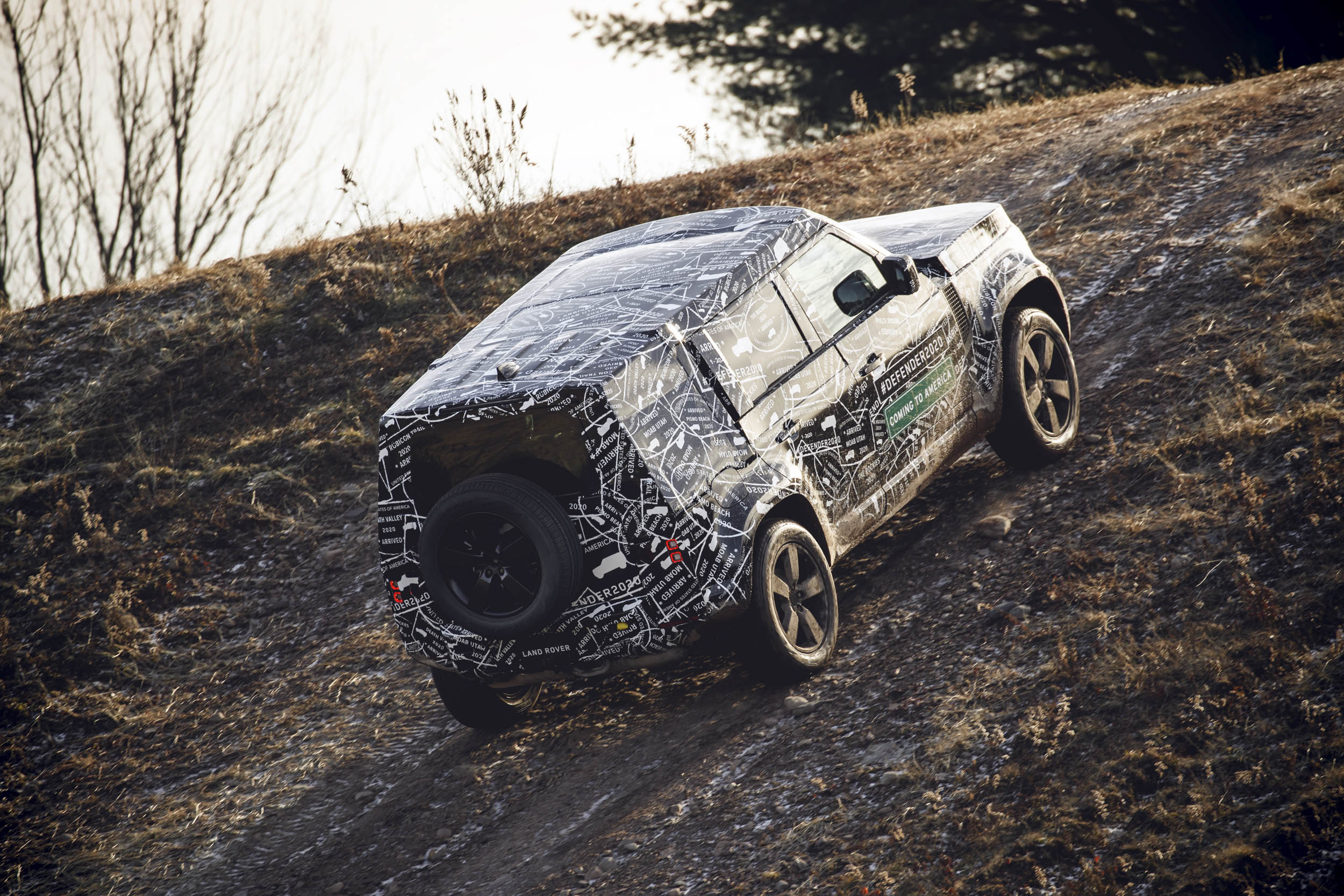 2020 Land Rover climbing a hill
