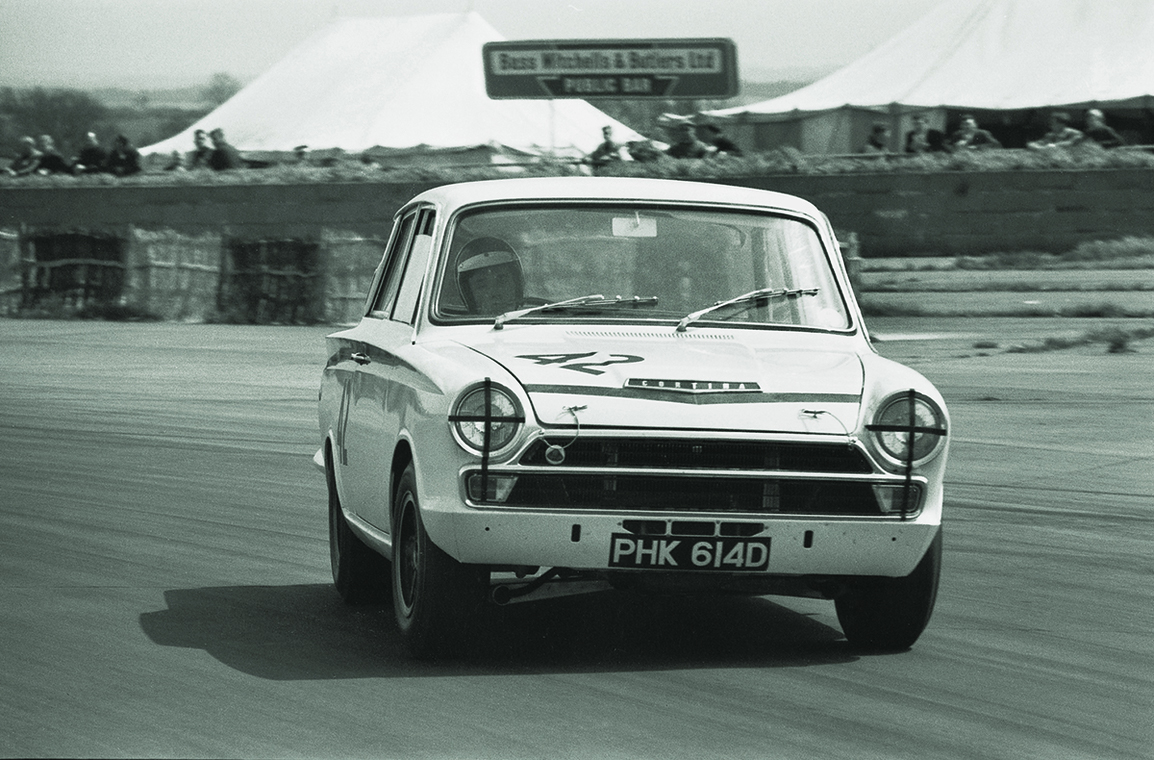 1966 Ford Cortina Lotus. Ex-works sliding on race track