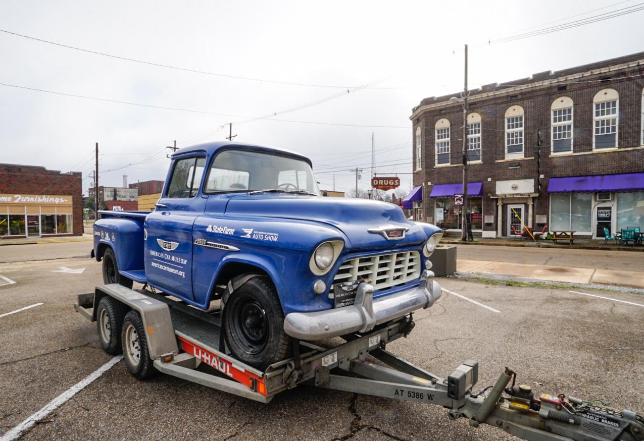 Aaron Kaufman Arclight fab shifting gears 55 chevy truck on trailer