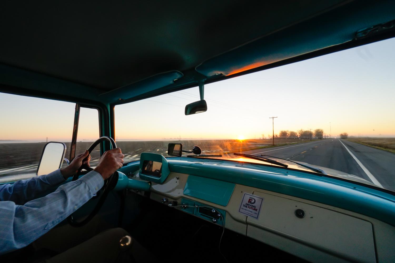 The Drive Home 1962 International Harvester Travelette sunrise